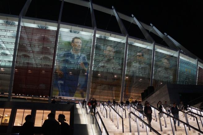 Kiev Olympic Stadium at night