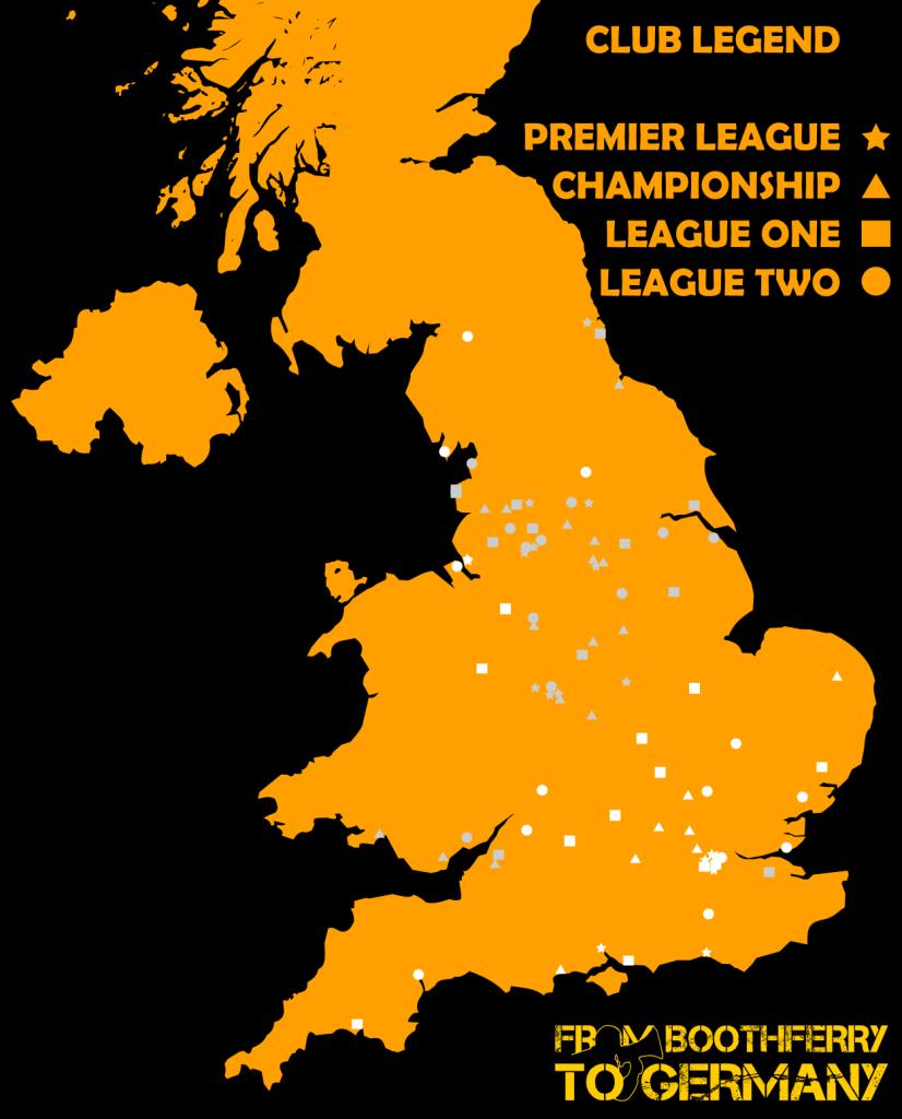 Football league stadiums map
